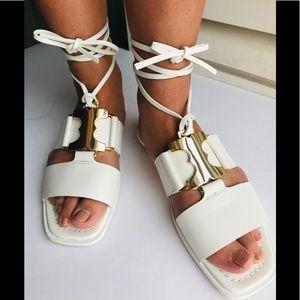 NWT NIB Tory Burch Gemini White lace up sandals
